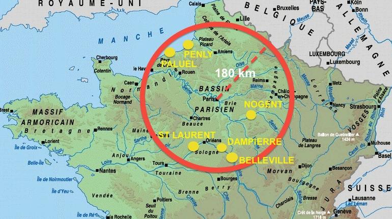 Dans un rayon de 180 km autour de Paris : six centrales totalisant seize réacteurs