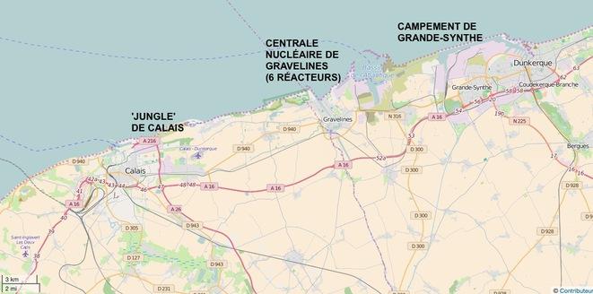 La 'jungle' de Calais, la centrale nucléaire de Gravelines, le camp de la honte de Grande-Synthe